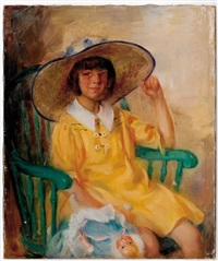 girl in big hat by wayman adams