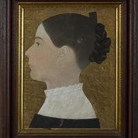 profile portrait of a young woman, her braided hair worn with a comb by ruth henshaw miles bascom