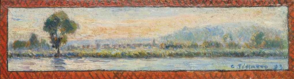 bord de rivière by camille pissarro