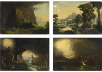 youth, childhood, manhood and old age (4 works from the voyage of life) by thomas cole