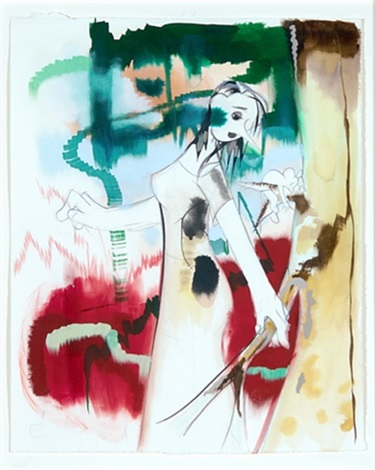 ghost and man woman looking backwards at mouse hanging on tree 1998 mixed media on paper 2 works by ellen berkenblit