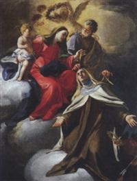 la sacra famiglia impartisce il collare a santa teresa d'avila by domenico antonio vaccaro