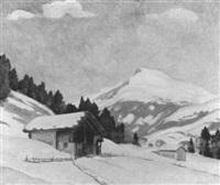 winterlandschaft mit chalets und elsighorn bei adelboden by hans arnold daepp