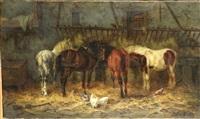 chevaux à l'écurie by gustav colsoulle