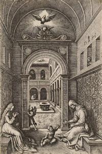 maria und hl. anna (elisabeth?), in renaissance-archtektur by daniel hopfer
