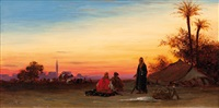 bedouin camp, afterglow by charles théodore (frère bey) frère