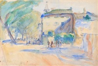 les quays, cahors, figures promenading by anthony gross