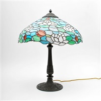 water lily lamp with water lily base by chicago mosaic lamp company