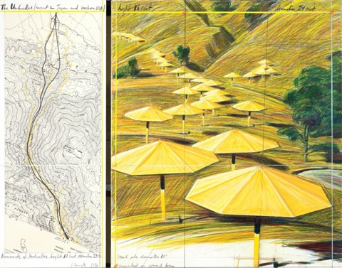 the umbrellas project for japan and western usa diptych by christo and jeanne claude