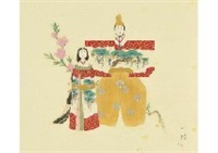 japanese dolls in a standing pose by ito shoha