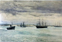 ships at anchor, williamstown by julian rossi ashton