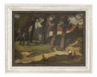 figures in a woodland by william strang