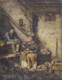 bäuerliches interieur mit jungem paar by ferdinand fagerlin