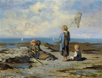 kinder am felsigen strand mit keschern by louise thuillier mornard