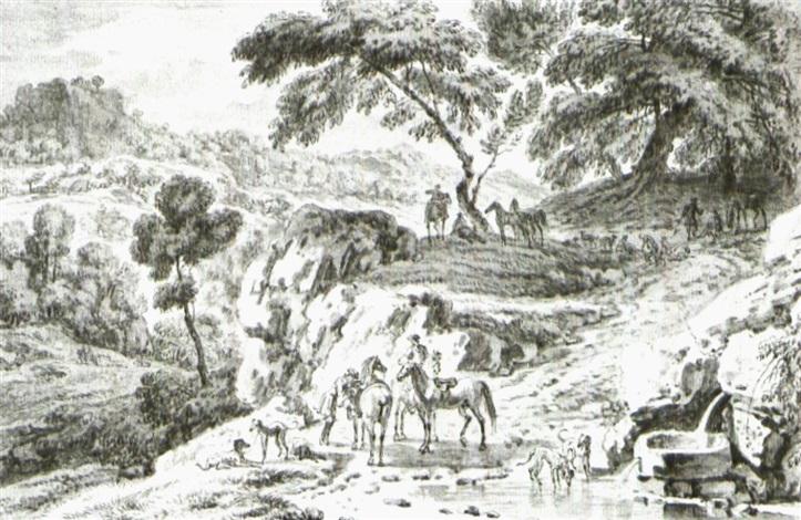 reiter mit hunden an einem brunnen by dirk maes