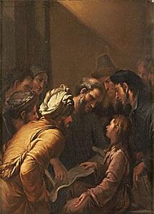 jesus vid tolv års ålder i templet by carel fabritius