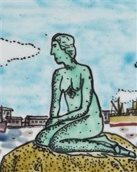 mermaid in copenhagen (plate) by kiyoshi yamashita