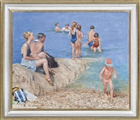 figures by the sea (the artist's family) by norman hepple