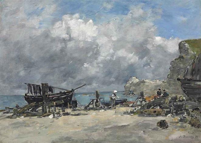 etretat bateaux de pêche et pêcheurs sur la plage by eugène boudin