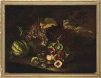 grapes, melon, figs and peaches on a ledge by felice boselli