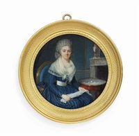 a lady making lace, seated on blue upholstered chair, in blue and black striped dress with white sash, cream gauze fichu with embroidered edges, powdered curling hair, her lace in her lap by jean baptiste jacques augustin