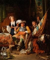 barockes interieur mit einem landsknecht im lehnstuhl by henricus engelbertus reijntjens