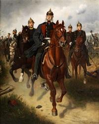 ausritt kaiser wilhelms i in begleitung von graf moltke und fürst bismark sowie weiteren hochrangigen kavalleristen by wilhelm camphausen