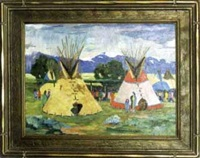 sioux encampment scene by tom waugh