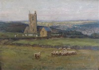 sheep in a churchside meadow by a. moulton foweraker