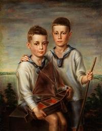 knabenpaar mit segelschiff by adolf ziegler