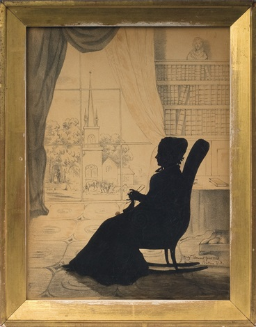 Silhouette Of A Woman Seated In A Rocking Chair And Knitting, Mrs. William  Dandridge