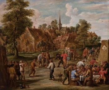 comida en la aldea by abraham teniers