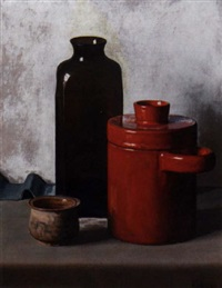 a still life with a red pot, a brown glass vase and a small earthenware pot by hendrikus ijkelenstam