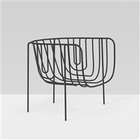 13600mm chair from the thin black lines series by nendo