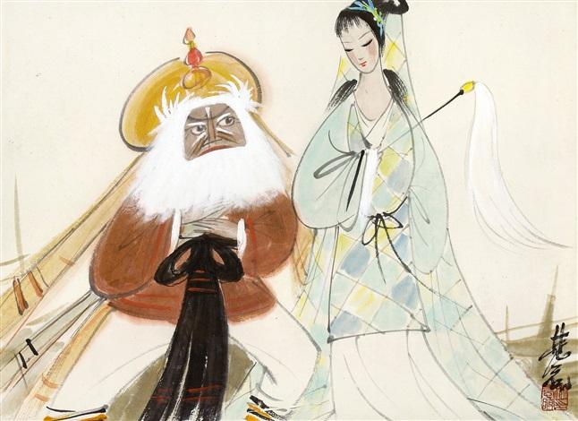 打渔杀家 beijing opera characters by lin fengmian