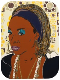 portrait of lady blue #2 by mickalene thomas