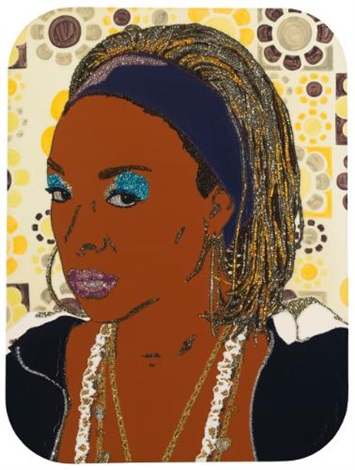 portrait of lady blue 2 by mickalene thomas
