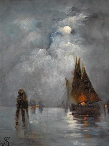 lagune de venise de nuit by alfred stevens