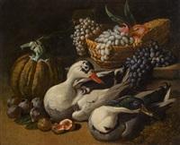 früchtestillleben mit zwei enten by jacob van der kerckhoven