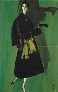 elégante au manteau noir by rené gruau