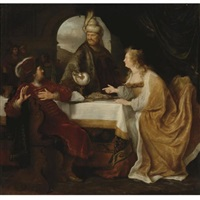 esther's banquet by salomon koninck
