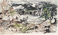 moonlit landscape with a church by john minton