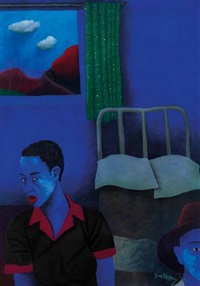 two figures in a bedroom by zwelethu mthethwa