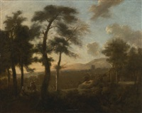 classical french landscape with figures by frederick de moucheron