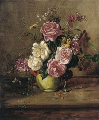 roses, chrysanthemums and other flowers in a green vase, on a wooden ledge by willem elisa roelofs