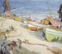 barca de pesca en la playa de villanova by alexandre de cabanyes