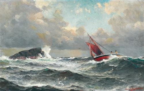 segelboot vor felsen bei stürmischer see by lars laurits larsen haaland