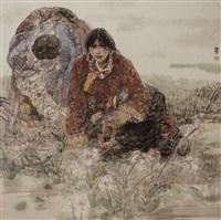 mother & daughter praying by ren jimin