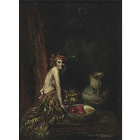 model with bowl of fruit by indiana gyberson