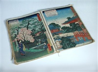 album of 34 woodblock prints from a series which includes views of mount fuji, fireworks on the sumida river and the kinryuzan kannon temple in asakusa by ando hiroshige